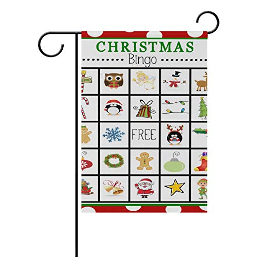 Garden Flag Christmas Bingo Cards Double Sided Festival Holiday Decoration for Outdoor Family Party 28 x 40 Inch