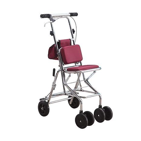 Trolley portátil, bolsa y andador, carro de la compra plegable con asiento, carro