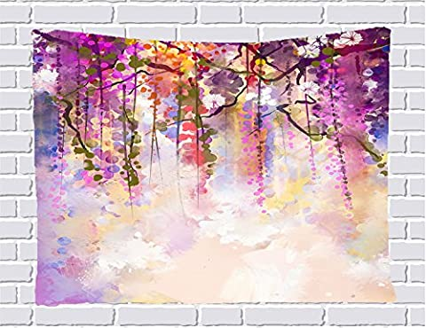 Watercolor Flower Decor Collection Tapestries, Wisteria Tree in Blossom Romantic Flowers over Bokeh Wall Hanging Tapestry for Bedroom / Living Room / Dorm Accessories 80 X 60 Inches - Floral Tapestry