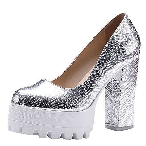 Women's Carolbar Chic Fashion Heel Silver Platform Shoes High Block Court 7dqdx1rFw
