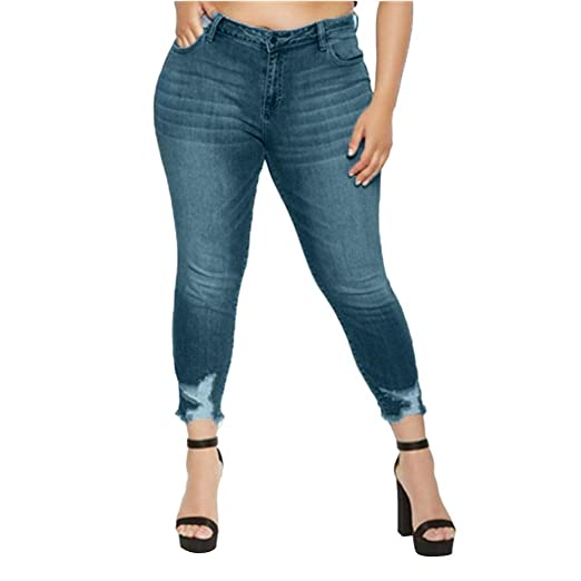 1467e151fe0 Memela Plus Size Womens Super Comfy Stretch Denim Jean Slim Skinny High  Waist Trousers (Blue