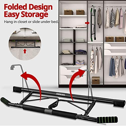 SIEBIRD Pull Up Bar for Doorway with Mount Hook - Chin Up Bar No Screws - Angled Grip Home Gym Exercise Equipment - Portable Pullup Bar Upper Body Workout Bar with Bonus Resistence Band 6