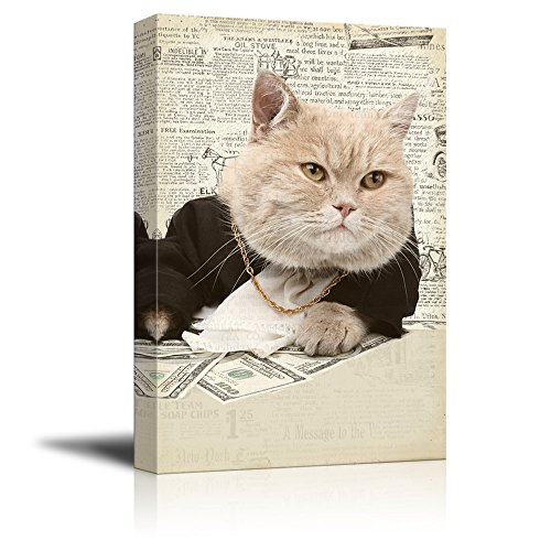 Creative Animal Figure on Vintage Paper Rich Cat Gambling
