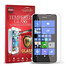 Lumia 630 635 Screen Protector, GlassWorx Tempered Glass Screen Protector Film for Nokia Lumia 630 635