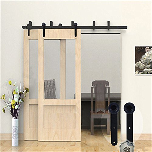 KIRIN 10 Foot Barn Door Hardware Double Doors Bypass Soft Close Quiet Sliding Track Kit Interior (Round Shape) by kirin