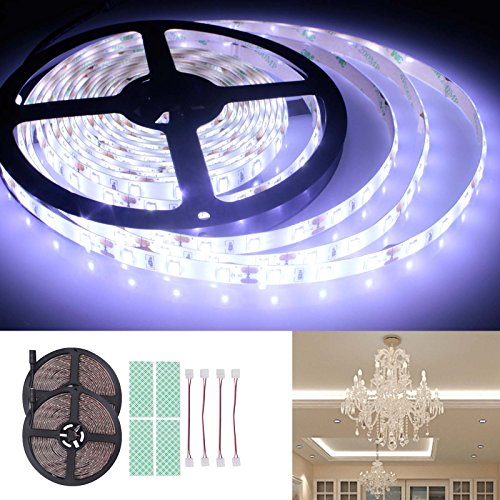 BIHRTC 12V IP65 DC Waterproof LED Strip light SMD 5630 32.8ft(10M) 5M/Roll 600 LEDs 300 LEDS/Roll 6500-7000K Flexible Rope Light (No Power Supply), Daylight White - Use 600 Rough