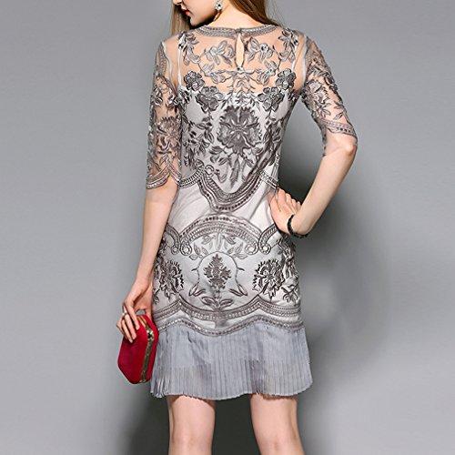Grau Kleid Stickerei Spitze Honghu Damen vqwxCP1