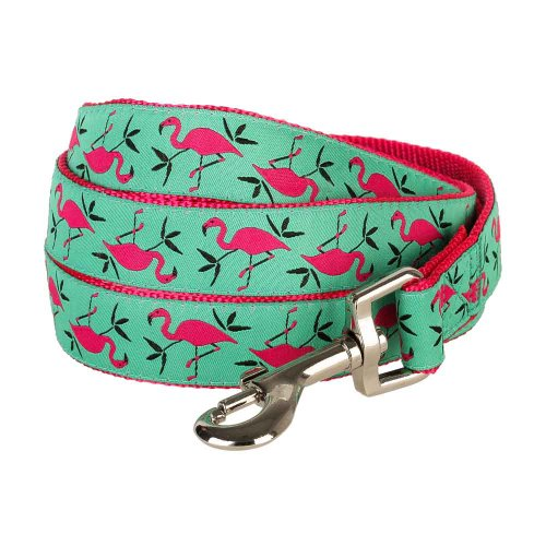 Blueberry Pet Durable Pink Flamingo on Light Emerald Dog Leash 5 ft x 5/8