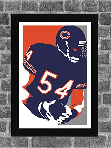 Chicago Bears Brian Urlacher Portrait Sports Print Art (Chicago Bears Wrapping Paper)