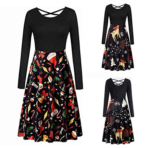 iSkylie Women Cocktail Formal Swing Dress Long Sleeve Christmas Cross Bow Tie Notes Print Vintage Party Dress (Multicolor, L)