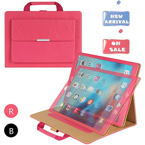 iPad Pro 12.9 Case with Hand Strap, IELECMG Stand Folio Case Cover for iPad Pro 12.9 inch (2017/2015 Model), Women Pocket Handbag for Pencil Holder, Smart Sleep-Wake Cases for Apple 12.9 Tab- Hot Pink by IELECMG