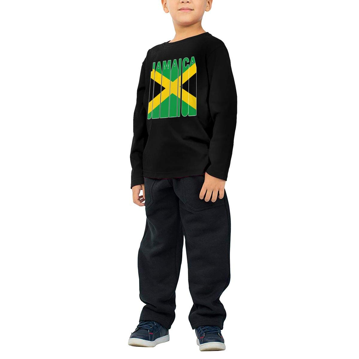 Jamaica Flag Word Kids Boys Girls Crew Neck Long Sleeve Shirt Tee for Toddlers