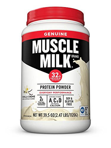 Muscle Milk Genuine Protein Powder, Vanilla Crème, 32g Protein, 2.47 Pound (Milk Protein Powder)