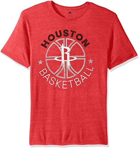 NBA Houston Rockets Men's Double Dribble Tri-Blend Short Sleeve Tee, Red, XX-Large Adidas Houston Rockets Short Sleeve T-shirt