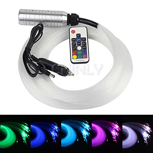 Car use DC12V 6W RGB LED plastic Fiber Optic Star Ceiling Kit Light 100pcs 0.03in 6.5ft +18key Remote optical fiber Lights Engine by CHINLY