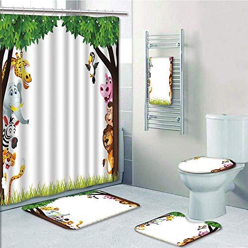 Bathroom 5 Piece Set shower curtain 3d print Multi Style,Nursery,Big Trees and Friendly Jungle Safari Animals Wilderness Tropical African Wildlife,Multicolor,Bath Mat,Bathroom Carpet - Squirters Jungle