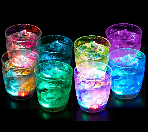 Liquid Activated Multicolor LED Lowball Glasses ~ Fun Light Up Drinking Tumblers - 10 oz. - Set of -