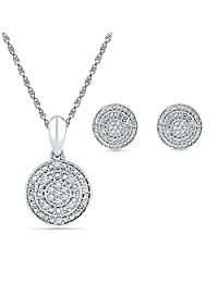 Sterling Silver Accent Diamond Circle Shape Pendant and Earrings Box Set