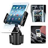Tablet & Smartphone Car Cup Holder Mount 2-in-1 Universal Smarts Car Phone/Tablets Mount with Adjustable Automobile Cup Holder Phones Mount for Apple iPad Pro 10.5/Sony, Samsung Galaxy Tab, iPhone X 8