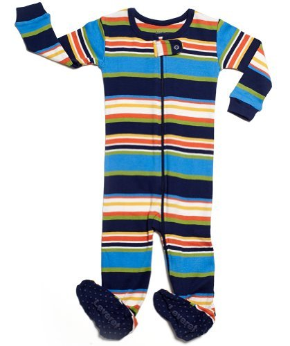 Leveret Kids Striped Baby Boys Footed Pajamas Sleeper 100% Cotton (Size 18-24 Months, Colorful)