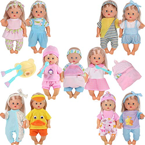 - 10pcs for 10-11-12 Inch Baby Doll Clothes Dress Reborn Newborn Doll Accessories Gown Costumes Outfits with Schoolbag Kitchen Toy Xmas Gift-wrap