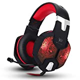 Kzon Gaming Headset Professional 3.5mm Stereo Over-ear Headphone Headband with 7 Colors Breathing LED Lighting for PC Computer Game With Noise Isolation & Volume Control
