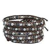 AeraVida Bohemian Twilight Quartz Cultured Freshwater Pearl Cotton Snake Cord Rope Wrap Bracelet