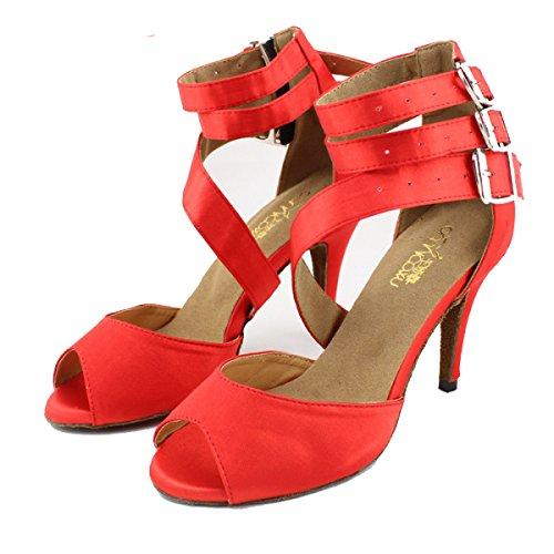 37 Professionista altri Colori Della Sandali Satin Ballroom red Shoe Superiore Donne Latino Salsa Delle Ragazza Med Scarpe Dance fTpqBxwB