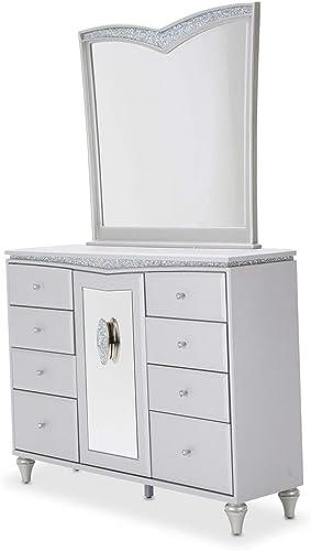 Aico Amini Melrose Plaza Upholstered Dresser Mirror in Dove Grey