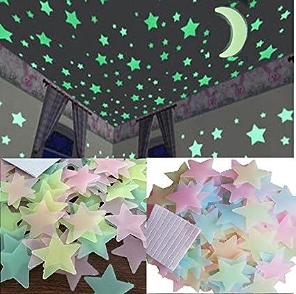 Stickonn Multi Colour Fluorescent Glow in The Dark Star Wall Sticker(50 Stars and 1 Moon,Size: 3.8x3.8 cm)