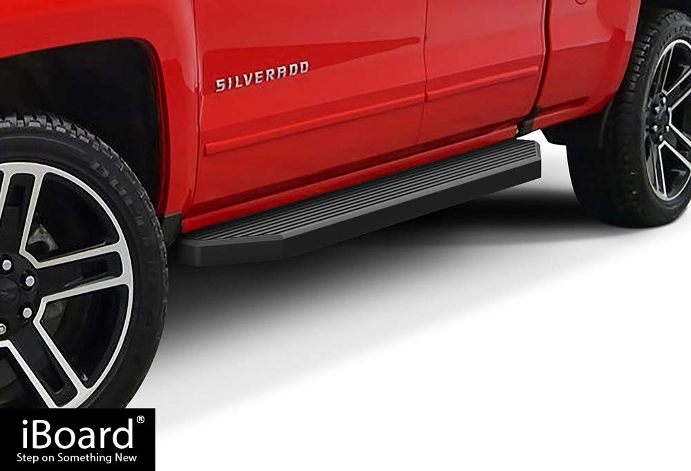APS iBoard Black Running Boards Style Custom Fit 2007-2018 Chevy Silverado/GMC Sierra Crew Cab & 2019 2500 HD / 3500 HD Crew Cab (Excl. 07 Classic Models) (Nerf Bars | Side Steps) 6'' Wide Aluminum
