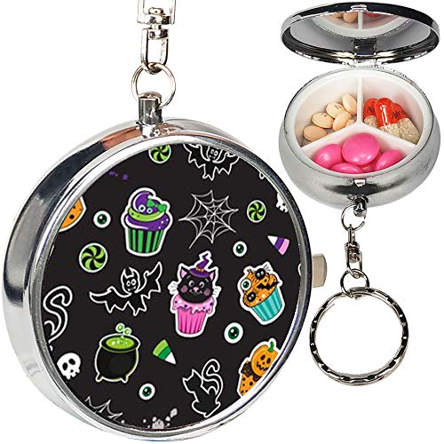 Portable Metal Pill Organizer Keychain Case Stash Box with 3 Compartments for Medicine Vitamin (Happy Halloween Cupcakes Cute Elements)