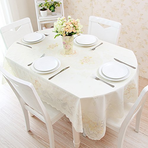 HOMEE Retractable folding table oval pvc table cloth european lace plastic tablecloth waterproof anti oil anti ironing Christmas decorations,D,90X140cm by HOMEE