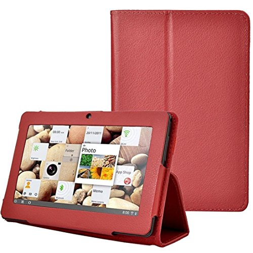 Mchoice Folio Stand Faux Leather Flip Protection 7Inch Tablet Case For Android TabltQ88 (Red)