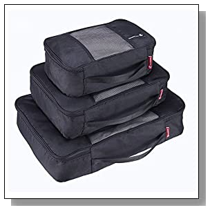 NewNomad Premium Set of 3 Packing Cubes, Superior Travel Organizer Fits Inside Suitcases, Light Weight, Durable Fabric & Zippers, Materials (Black)