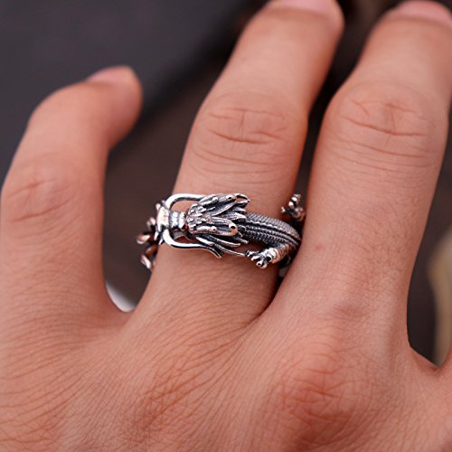 Vintage Unique 925 Sterling Silver Chinese Dragon Open Pinky Ring with Cubic Zironia for Men Women by For Fox (Image #4)