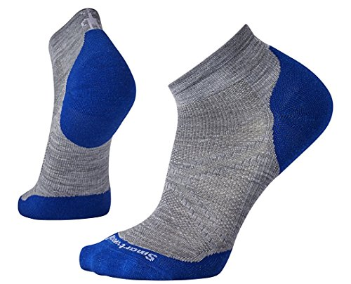 Smartwool Men's PhD Run Light Elite Low Cut Socks (Light Gray/Dark Blue) Large Smartwool Clothes
