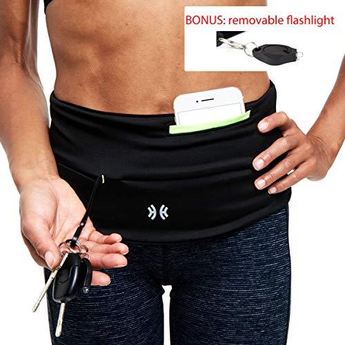 Limber Stretch Running Belt Waist Pack, Money Belt Waistpack, Insulin Pump Fanny Pack - Sweatproof Pocket - Includes Free Pocket Flashlight - Also Plus Sizes