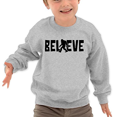Price comparison product image Puppylol Believe Bigfoot Kids Classic Crew-neck Pullover Hoodie Ash 4 Toddler