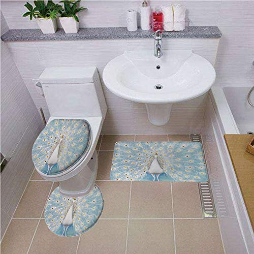 Bath mat set Round-Shaped Toilet Mat Area Rug Toilet Lid Covers 3PCS,Peacock Decor,Decorative Peacock Pattern on the Wall Nature Colorful Stylish Ornate Artwork, ,Bath mat set Round-Shaped Toilet Mat ()