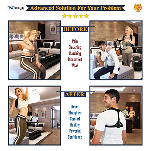 Posture Corrector for Women amp Men by Xtreme Upright Go Posture Trainer amp Adjustable Upper Back Straightener Brace Provides Pain Relief from Neck Back amp Shoulders Designed and Tested in USA