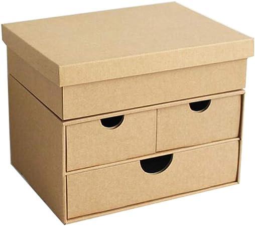 HUXIUPING Caja de almacenamiento Papel kraft Escritorio de ...