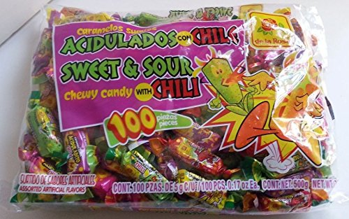 De La Rosa - Caramelos Suaves Acidulados Con Chile Mexican Candy 100 Pcs 500g