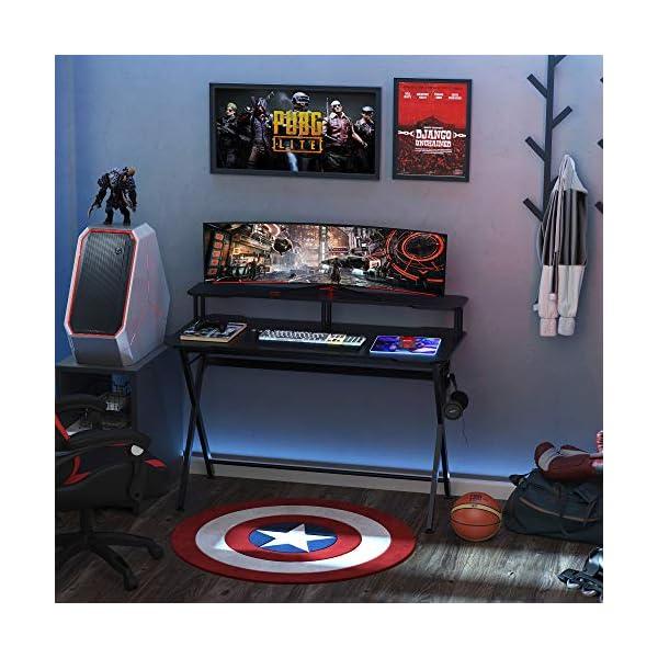 Bureau gaming bureau gamer bureau informatique bracket casque grand plateau MDF + étagère écran châssis métal noir