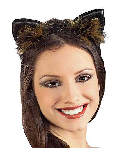Cat Ears Faux Leather Feathered Costume Headband]()