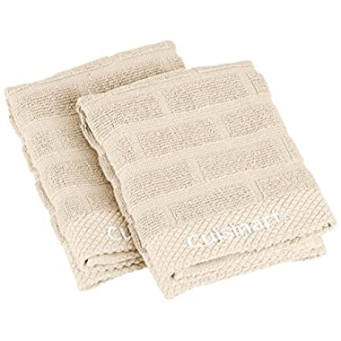 Cuisinart 100% Cotton Terry Dish Cloth Set, Sculpted Subway Tile, Tan/Beige, 2-Pack