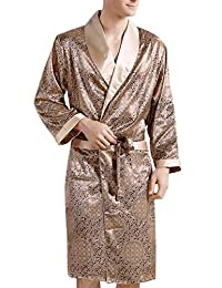 Yiwa Men's Comfortable Sleepwear 100% Silk Satin Robe Bathrobe Luxury Loungewear