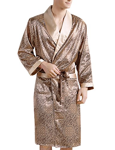 - Yiwa Men's Comfortable Sleepwear 100% Silk Satin Robe Bathrobe Luxury Loungewear Golden 3XL