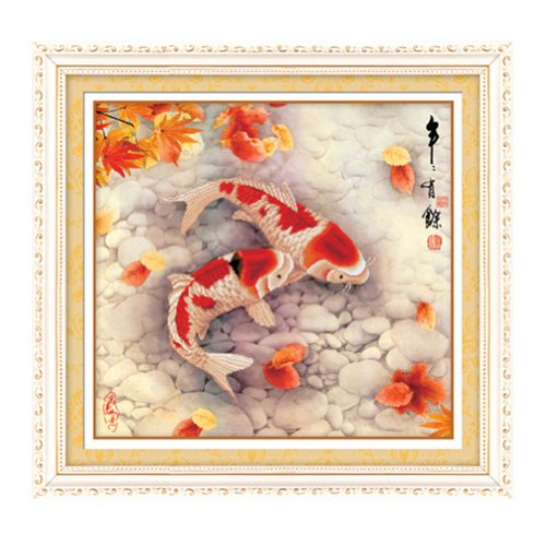 Pair of Koi fish 3D Stamped Cross Stitch Kit - 28.0inch By 26.4inch