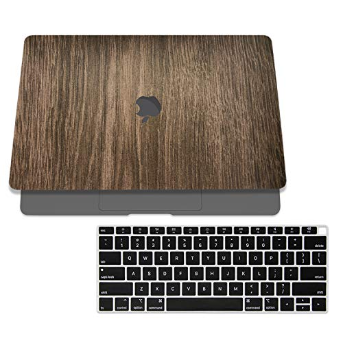 SOJITEK Brown Wood Design Texture Skin Decal Sticker for 2018 MacBook Air 13 Inch A1932 Model with Touch ID & Includes Black Keyboard Cover